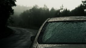 Dark moody car lights royalty free stock photo