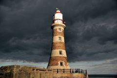 Roker Lighthouse Dark Sky royalty free stock image