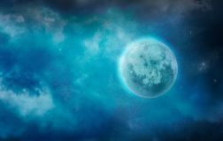 Dark Moon in Clouds. Stars and Moon stock photography
