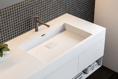 Black mosaic wall bathroom, double sink top view. Dark mosaic wall bathroom interior with a large window, a white double sink and a long narrow mirror. A top vector illustration