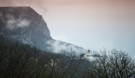 Dark mountain landscape with Church, Crimea. Dark mountain landscape with the Church of Christ`s Resurrection. It is a popular tourist attraction on the stock images