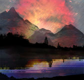 Dark mountain landscape with lake, trees and torrents of rain Royalty Free Stock Photography