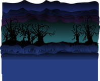 Dark Mountains Illustration. Cartoony vector mountains in the background, with dark creepy trees in foreground.  Hues of blue, purple and green Royalty Free Stock Photography