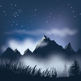 Dark Mountains. Illustration of a night time landscape with mountains, clouds, stars, trees and grass. Elements are all on separate layers for ease of editing Stock Photo