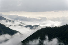 Dark Mountains and Mist Stock Image