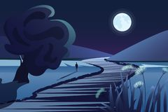 Dark mountains, river or lake, moon, lonely person, tree night view. Dark blue vector illustration for design banner. Card, poster. Cartoon rural nature royalty free illustration