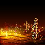 Dark music background with golden musical notes and treble clef. Dark music background with golden musical notes, treble clef and bass clef. Colorful vector Stock Images