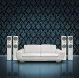 Dark music room. Dark blue listening room with white speakers and sofa vector illustration