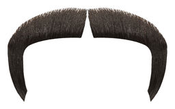 Dark Mustache. Fu Manchu Hair Mustache Isolated on White Background royalty free stock photos
