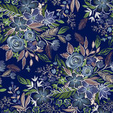 Dark muted floral pattern. Royalty Free Stock Image