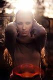 Dark mysterious woman Stock Image