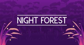 Dark mystic violet forest banner. Vector illustration of dark mystic violet forest banner with grass and fireflies Stock Images