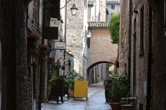 Small alley in Gubbio – Italy Stock Images
