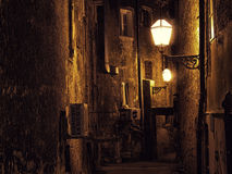 Dark narrow street in Zagreb, Croatia Royalty Free Stock Photo