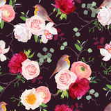 Dark natural vector seamless pattern in japanese style. Dark natural vector seamless pattern with robin birds and bouquets of peachy roses, white and burgundy Stock Photography