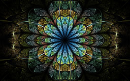 Dark nature themed fractal flower vector illustration