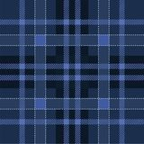 Dark navy and blue scottish tartan plaid. Seamless pattern . Traditional woven texture. Checkered fabric. Vector background stock illustration
