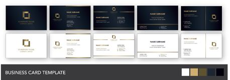 Dark Navy and Gold Business Card Template. Elegant and luxury business card template with dark navy and gold color scheme. Available both in dark and bright vector illustration