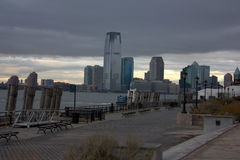 Dark New Jersey skyline from Manhattan after Sandy hurricane. The New Jersey skyline from the Financial District after Sandy hurricane Royalty Free Stock Images