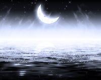 Dark night. Moon above big lake, sea. Dark night background Stock Images