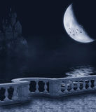 Dark Night. Fantasy background with a dark night, the moon and the castle balcony Royalty Free Stock Photography