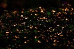 Blurred many bokeh light reflection on plant leavesn royalty free stock photos
