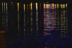 Blurred colorful light reflection on water surface with river waves stock photos