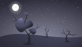 Dark night cartoon landscape for game design Royalty Free Stock Images