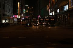 In dark of night city and vehicle lights on Nathan Road. KOWLOON HONG KONG, SEPTEMBER 20, 2017; In dark of night city and vehicle lights on Nathan Road royalty free stock photo