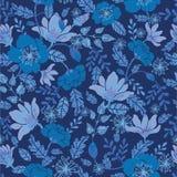 Dark night flowers seamless pattern background Stock Photos