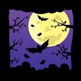 Dark night forest moon background. Royalty Free Stock Image