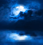 Dark Night Full Moon. Behind Clouds Royalty Free Stock Photography