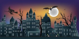 The dark night Halloween and full moon. The dark night Halloween and full moon in the sky over the abandoned village background , vector illustration royalty free illustration