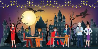 The dark night Halloween office party and full moon in the sky o. Ver the abandoned village background as happy festival day and party concept. vector royalty free illustration