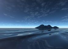 Dark Night Landscape with Distant Island Stock Image