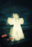 Dark night landscape with flowers at abandoned grave Royalty Free Stock Images