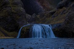 Milkyway at a waterfall in Iceland