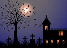 Dark night with moon, bats, trees, graves and castle Royalty Free Stock Images