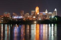 Dark Night Ohio River Cincinnati Downtown City Skyline Stock Photo