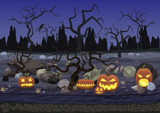 Dark night scary horror halloween background with pumpkin and trees. Stock Images