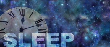 Time to get treatment for your sleep problem. Dark night sky background with a semi transparent roman numerals clock showing past midnight and the work SLEEP royalty free stock images