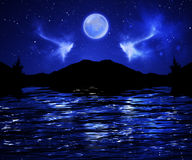 Dark Night Sky Full Moon Stock Photos