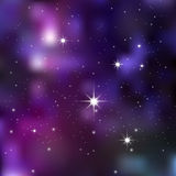 Dark night sky with sparkling stars and planets Royalty Free Stock Photo