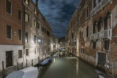 Dark night in Venice. Dark night over straight water channel in Venice, Italy stock photography
