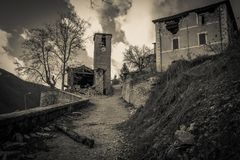 Dark Nocria village destroyed by earthquake of central Italy royalty free stock photography