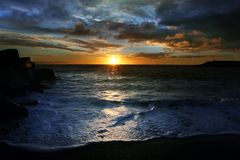 Dark Ocean Sunset Stock Photography