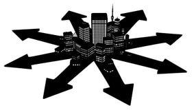 Dark City Arrow Spread. Dark office buildings city cartoon arrow directions, 3d illustration, horizontal, over white, isolated Stock Photography