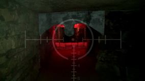Dark old abandoned underground tunnel. Grunge vintage catacombs. Scary background for the quest military. Searches with a rifle with a sightand Halloween stock video