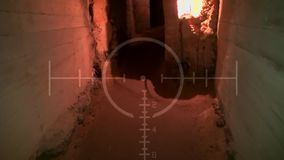 Dark old abandoned underground tunnel. Grunge vintage catacombs. Scary background for the quest military stock video