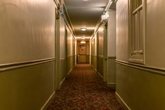 Dark Old American Apartment Building Hallway royalty free stock image